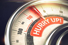 Hurry Up - Caption on Conceptual Dial with Red Needle. 3D. Hurry Up - Conceptual Scale with Red Inscription on It. Horizontal image. Shiny Metal Compass with Royalty Free Stock Images