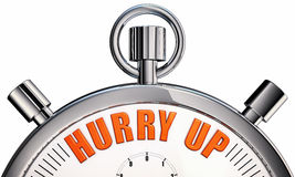 Hurry up. 3d rendering of a stop watch with a hurry up icon royalty free illustration