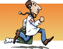 Hurry up, doctor!. Cartoon-style illustration: a funny running doctor, wearing a whitecoat, bringing his working bag. A stethoscope hanging from his ears. Red Royalty Free Stock Photos