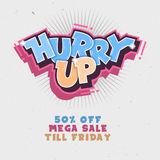 Hurry Up. Mega Salle Till Friday. Comic Lettering With Sparks. G Royalty Free Stock Photo