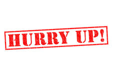 HURRY UP!. Red Rubber Stamp over a white background Stock Image