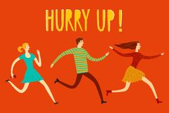 Hurry up  sale illustration with people Royalty Free Stock Photo