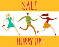 Hurry up  sale illustration with people Stock Photo
