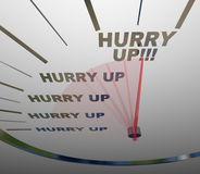 Hurry Up - Words on Speedometer Royalty Free Stock Photos
