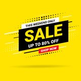 Hurry This weekend only Sale banner, poster background. Big sale, special offer, discounts, up to 80 off. Vector royalty free illustration
