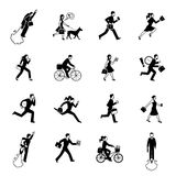 Hurrying Business People Monochrome Set Royalty Free Stock Photography