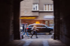 Hurrying people in the city streets Royalty Free Stock Photos
