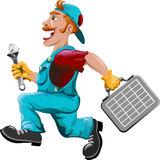 The hurrying plumber Royalty Free Stock Images