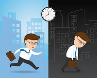 Hurrying to work and Exhausted Businessman Royalty Free Stock Photos
