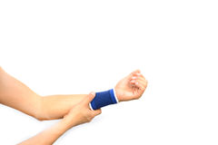 Hurt hand with a wrist support isolated Stock Photos