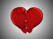 Hurt and pain. Red Broken Heart. Over grey background Royalty Free Stock Photos