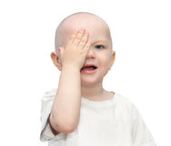 Hurt a small child is crying,wiping tears with the hand,isolated Stock Photography