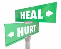 Hurt Vs Heal Injury Recovery Two Road Street Signs. 3d Illustration Stock Images