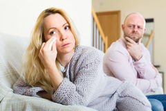 Hurt woman after couple conflict Royalty Free Stock Images
