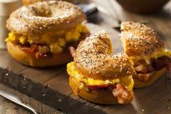 Hurtig frukostsmörgås på en bagel Arkivfoto