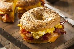 Hurtig frukostsmörgås på en bagel Arkivbild