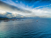 Hurtigruten from air Royalty Free Stock Photography