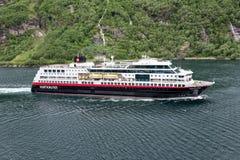 Hurtigruten coastal vessel TROLLFJORD in the Geirangerfjord, Norway Stock Photo