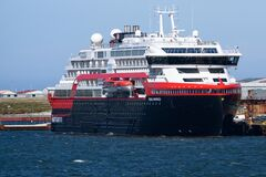 Free Hurtigruten New Expedition Ship Roald Amundsen, Hybrid Powered Ship In Stanley, Falkland Islands Royalty Free Stock Image - 172762896