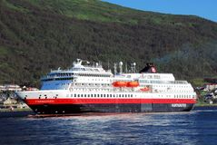 Hurtigruten - passenger and freight shipping -Norways coast Royalty Free Stock Photo