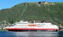 Hurtigruten - passenger and freight shipping -Norways coast Stock Photo