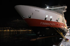 Hurtigruten ship docked at Tromso Royalty Free Stock Image