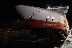 Hurtigruten statek dokujący przy Tromso Obraz Royalty Free