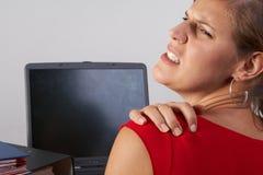 Hurting neck Stock Photo