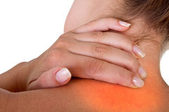 Hurting neck and shoulder Royalty Free Stock Image