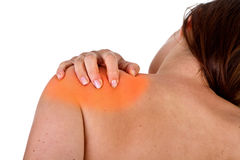Hurting neck and shoulder stock photo