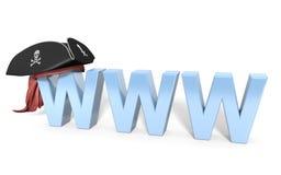 Hurto en línea de Internet y pirateo ilegal stock de ilustración
