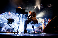 Hurts concert. British pop-rock band Hurts performing live at Arena club, Moscow, Russia Royalty Free Stock Image