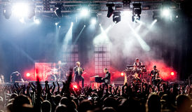 Hurts concert. British pop-rock band Hurts performing live at Arena club, Moscow, Russia Royalty Free Stock Photo