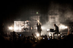 Hurts concert. British rock band The Doors performing live at Crocus City Hall, Moscow, Russia Stock Image