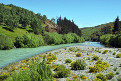 Hurunui River and river bed in Spring, Canterbury, New Zealand Stock Photography