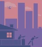 Husägareskytte på en inbrottstjuv Pictogram/plan designstil Arkivfoto