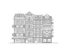 Husöversikt av Tjeckien Europeiska gamla fasader av gator och hus Staden av Plzen Vektorlinje konst Royaltyfri Bild