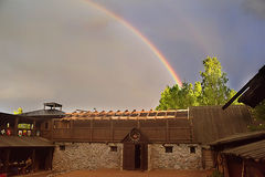 hus över regnbågen Royaltyfri Fotografi