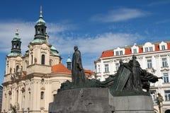 hus 1月雕象 老镇中心,布拉格,捷克语 库存照片