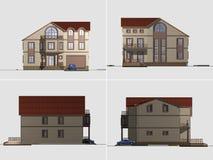 hus 3d på vit Arkivfoto