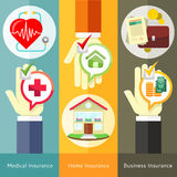 Hus, affär, läkarundersökning och sjukförsäkring Arkivfoton