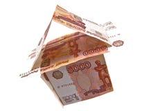 Hus av 5000 rubles sedlar Royaltyfria Foton