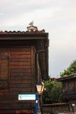 Hus av den gamla staden av Sozopol, Bulgarien Arkivfoto