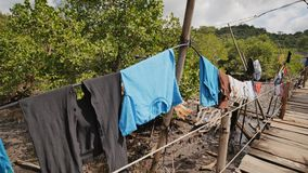 Hus av det fattigt i de filippinska slumkvarteren Marsklan med haffar i landet av Sri Lanka Träbroar från plankor på högt vatten  lager videofilmer