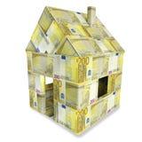 Hus av 200 euroräkningar Arkivbild