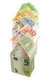 Hus av eurosedlar Arkivbild