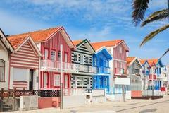 Hus av fiskare, Costa Nova, Portugal Arkivfoto