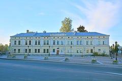 Hus av generalen Mendt på den Petrovskaya fyrkanten i Vyborg, Ryssland Arkivbild