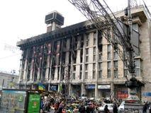 Hus av handel - unioner på Maidan efter revolution. Kiev. Ukraina Arkivbilder