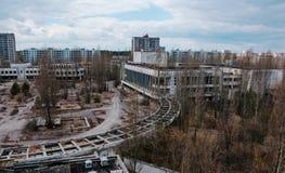 Hus av kultur Energetik på den Tjernobyl staden, Ukraina Abadoned Royaltyfria Foton